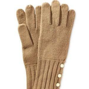 Michael Michael Kors Gold Buttons Knit Gloves